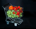 Shopping cart full of fresh fruit Royalty Free Stock Images