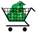 Shopping cart full of money Royalty Free Stock Image