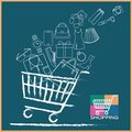 Shopping cart full variety of products