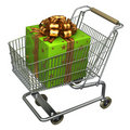 Shopping Cart with Gift box Stock Photos
