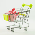 Shopping cart with gift box close up of inside Stock Photo