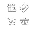 Shopping cart, Gift box and Sale Coupon icons.