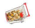 Shopping cart gold coins money white background Stock Photo