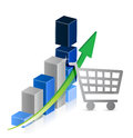 Shopping cart graph business illustration design over a white background Stock Images