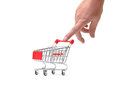 Shopping Cart with Hand Stock Photo