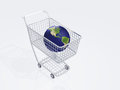 Shopping cart holds earth images used to create this image were furnished by nasa Royalty Free Stock Photos