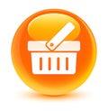 Shopping cart icon glassy orange round button
