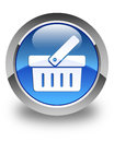Shopping cart icon glossy blue round button Royalty Free Stock Photo