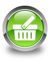 Shopping cart icon glossy green round button Royalty Free Stock Photo