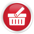 Shopping cart icon premium red round button Royalty Free Stock Photo
