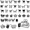 Shopping cart icon set of black icons vector illustration Royalty Free Stock Photos