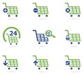 Shopping cart icon set isolated vector in two colours Stock Image