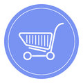 Shopping cart icon, shopping basket design, trolley icon. Blue circle background.