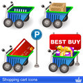 Shopping cart icons illustration of a Stock Images
