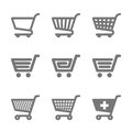 Shopping cart icons illustration on white Stock Photos