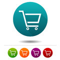 Shopping Cart icons. Sale signs. Shopping symbol. Vector Circle web buttons. Royalty Free Stock Photo