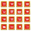 Shopping cart icons set red