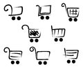 Shopping cart icons set for web site or retail design Stock Images