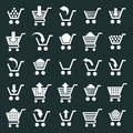 Shopping cart icons vector set, supermarket shopping simplistic Royalty Free Stock Photo