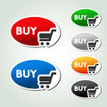 Shopping cart item trolley oval button illustration Stock Photos