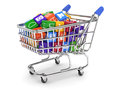 Shopping cart with media boxes Stock Image