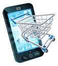 Shopping cart mobile phone with flying out concept for online or for apps or Royalty Free Stock Photo