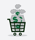 Shopping cart money bags full of Stock Image