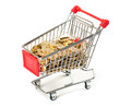 Shopping cart money white background Stock Images