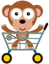Shopping cart monkey a happy cartoon riding a Royalty Free Stock Photos