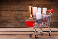 Shopping cart with nail varnish Royalty Free Stock Photo
