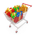 Shopping Cart With Presents Royalty Free Stock Image