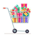 Shopping cart purchase gift flat design character vector illustration