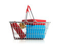 Shopping cart with purchases on white background Stock Photos