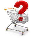 Shopping cart with quest clipping path included image Stock Image