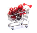 Shopping Cart with Ripe Cherries Royalty Free Stock Photos