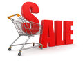 Shopping cart with sale clipping path included image Royalty Free Stock Images