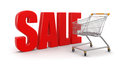 Shopping cart with sale clipping path included image Stock Image