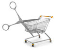 Shopping cart and scissors clipping path included image with Stock Photos