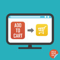 Shopping cart on screen and add to cart button flat icon. Illustration for website or mobile application.