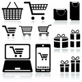 Shopping cart sign set of black icons vector illustration Royalty Free Stock Photo
