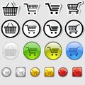Shopping cart sign set of black icons vector illustration Stock Image