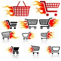 Shopping cart sign set of icons vector illustration Royalty Free Stock Image