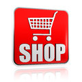 Shopping cart sign with word shop banner Royalty Free Stock Images