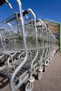 Shopping cart single row Stock Photo