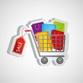 Shopping cart sticker kits Stock Photos