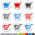 shopping cart stickers - trolley, item or button Royalty Free Stock Photo