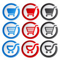 Shopping cart stickers trolley item or button illustration Royalty Free Stock Images