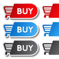 Shopping cart stickers trolley item or button illustration Royalty Free Stock Photos