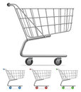 Shopping cart supermarket with color wheels and handle Stock Image