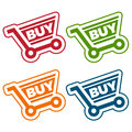 Shopping cart tags set of with icons Royalty Free Stock Photo
